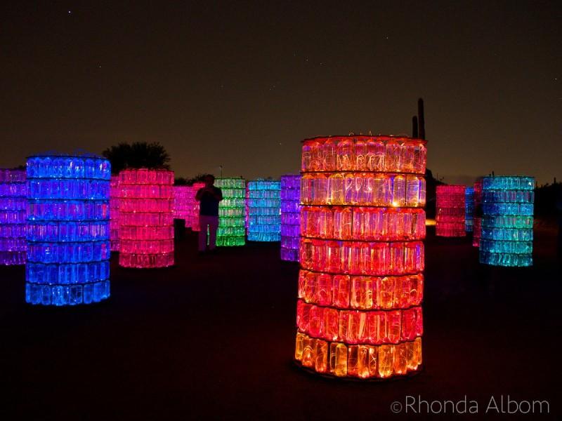 Water-Towers in the Bruce Munro Sonoran Lights at the Desert Botanical Garden in Phoenix Arizona