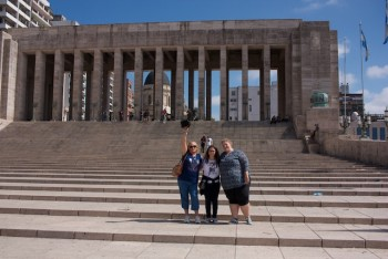 My host family and I on the steps of the National Flag Memorial.
