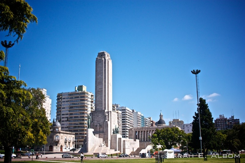 National Flag Memorial from a distance in Rosario, Argentina. Photo copyright ©Sarah Albom 2016