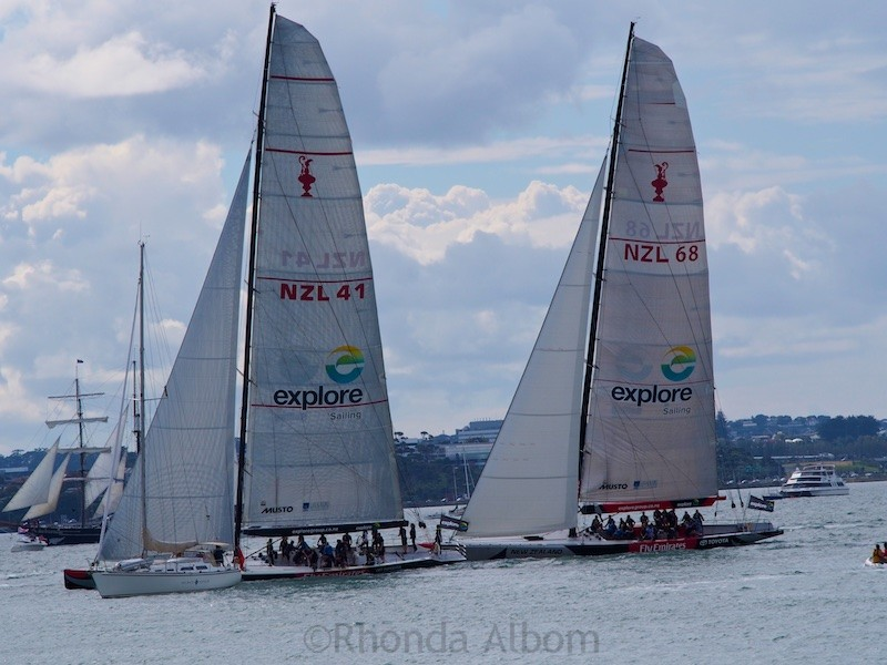 Yachting in New Zealand - Princess Kate racing against Prince William race against each other on former America's Cup boats.