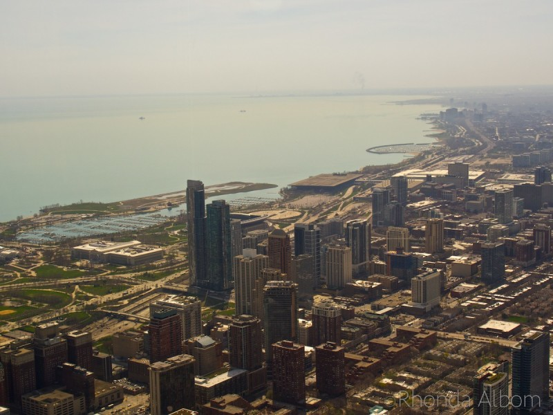 View of Chicago from the 103 floor on the Skydeck Chicago in the Willis Tower