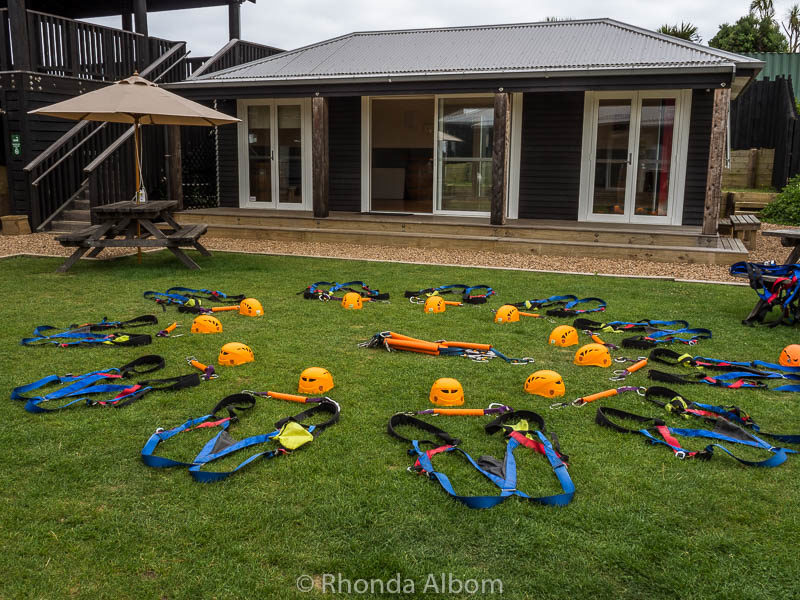 Safety gear at Eco Zip on Waiheke Island Auckland New Zealand