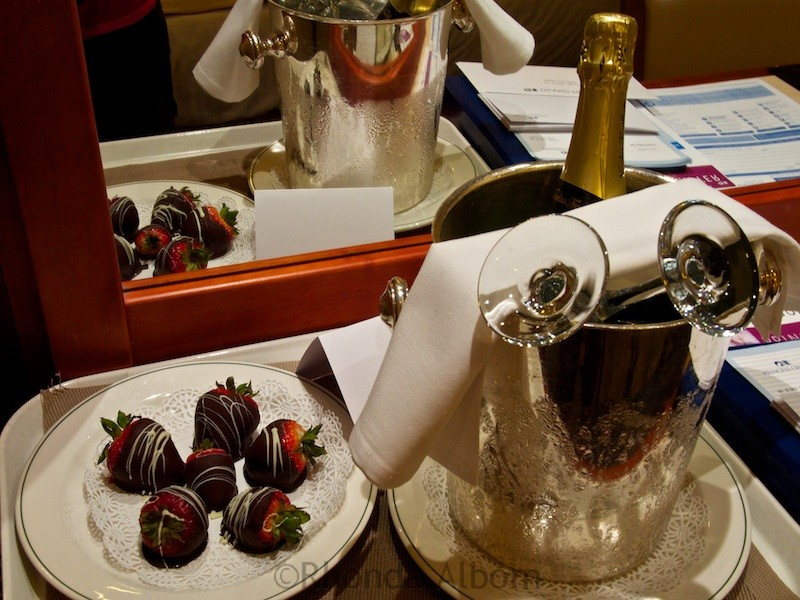 Chocolate covered strawberries, and champaign on the Island Princess