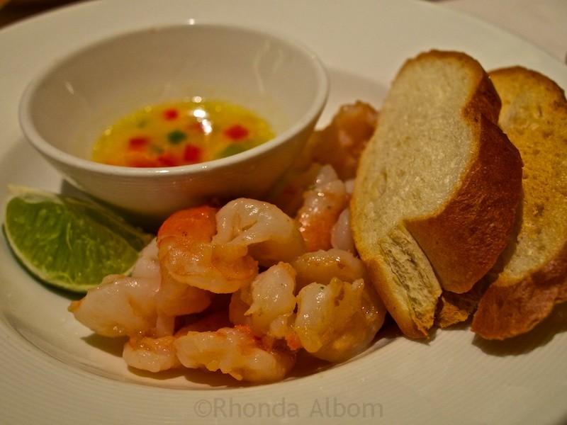 Caribbean shrimp severed as an appetizer onboard a Princess Cruise ship