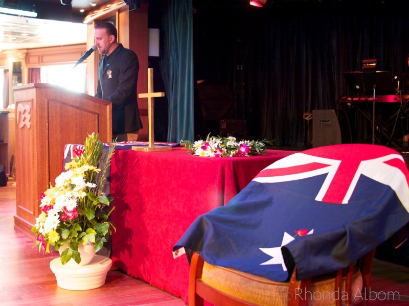 ANZAC Day service on the Island Princess cruise ship