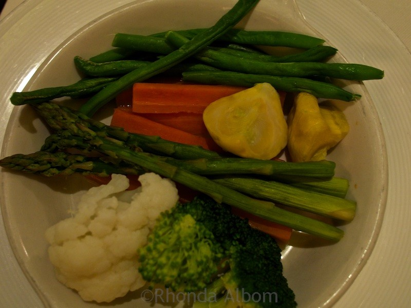 Eating onboard a cruise ship can be healthy too. I ordered a side of vegetables with dinner on the Island Princess.