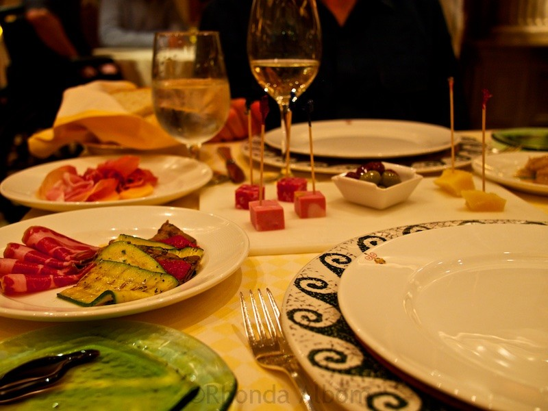 Antipasto started our dinner at one of the specialty restaurants.