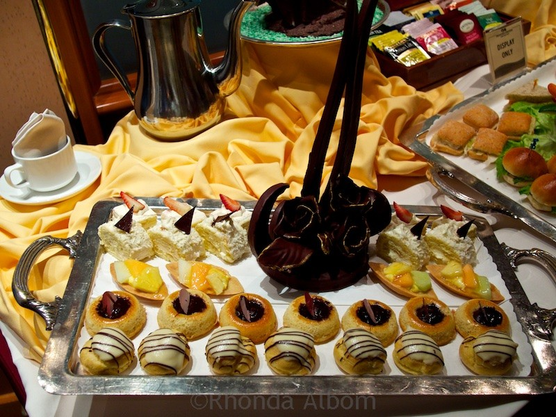 The sweet tray at afternoon tea on Princess Cruises