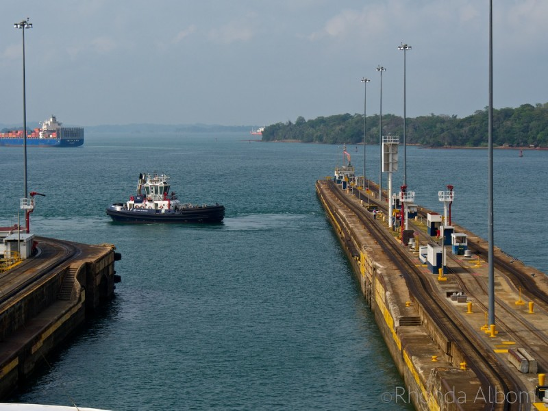 Coming out of the Gatun Locks and entering Gatun Lake