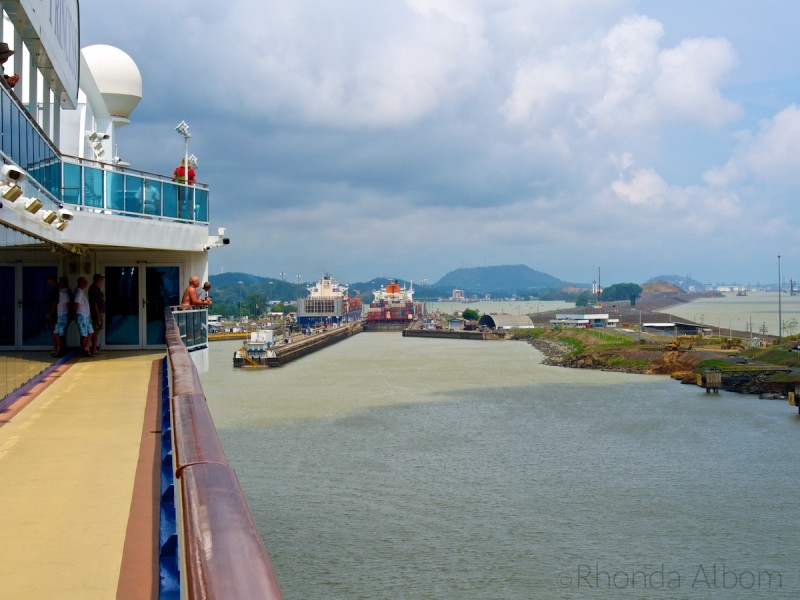 Island Princess heading into the Pedro Miguel Locks on the Panama Canal