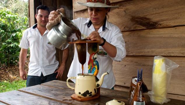 Old style coffee making at the Espiritu Santo Coffee Plantation in Costa Rica
