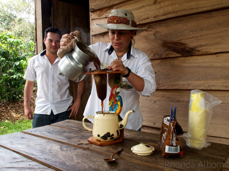 Old style coffee making at the Espiritu Santo Coffee Plantation in Costa Rica