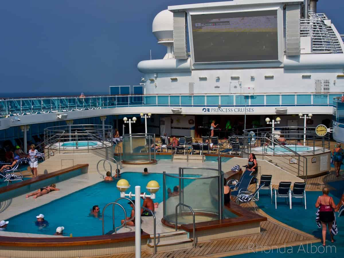 One of the pools on the Island Princess cruise ship