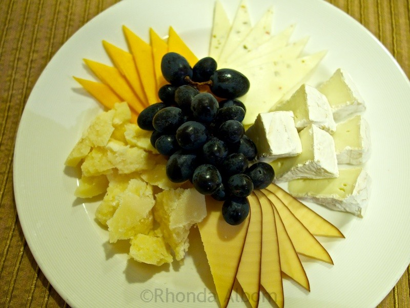 Cheese tray available on the Island Princess from room service.