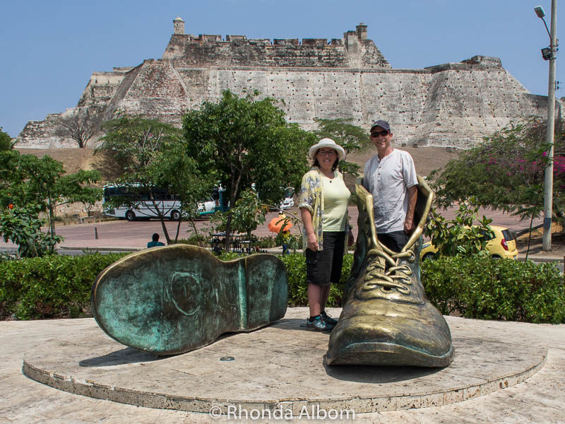The old boots (Botas Viejas) statue in Cartagena Colombia