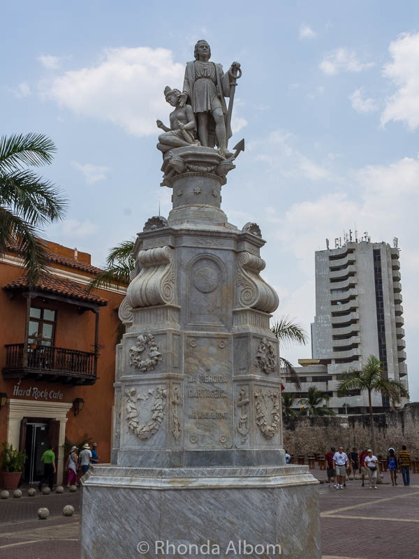 Statue of Christopher Columbus in Cartagena Colombia