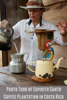Old style coffee making at the Espiritu Santo Coffee.