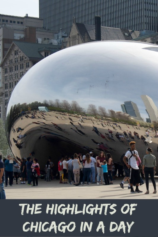 The Bean Sculpture in Chicago one of five must see destinations if you are trying to see the city of Chicago in a day.