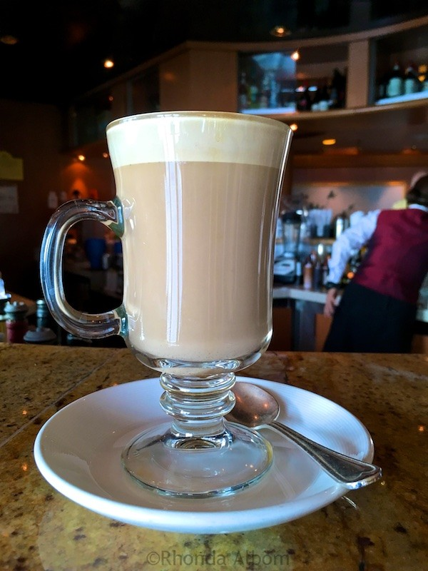 A latte served on a Princess Cruise Ship