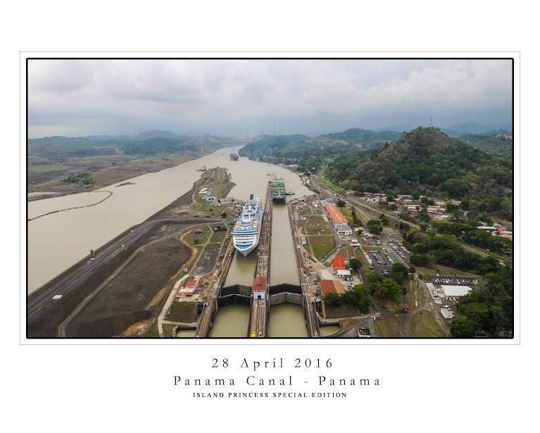 Island Princess inside the Miraflores Lock of the Panama Canal