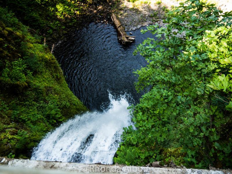 Multnomah Falls lower falls looking down over the side of the Benson Footbridge.