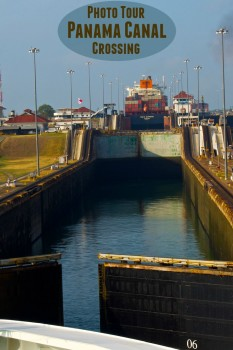 Let me take you on a photo tour as we cross the Panama Canal, from Atlantic to Pacific. We started here at the Gatun Locks.