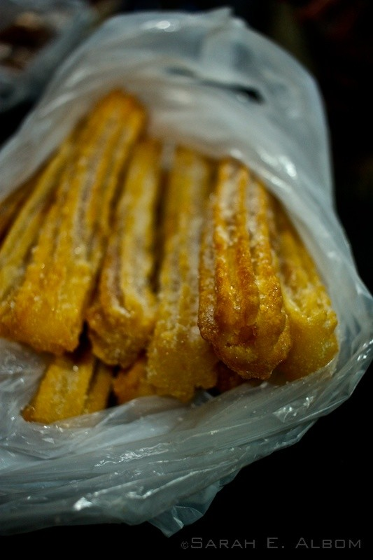 A bag of churros. My favourite type of churro now is with dulce de leche, which is sort of like caramelised condensed milk.