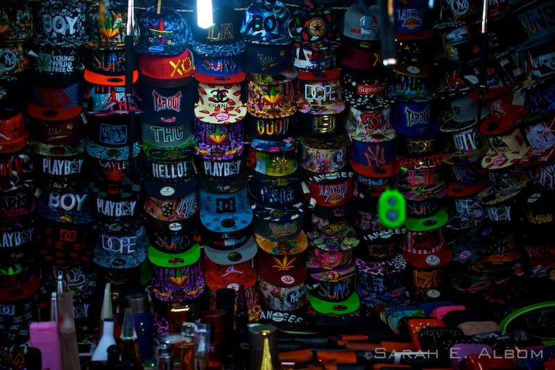 Hats in a stall at an Argentinian market. Photo copyright ©Sarah Albom 2016