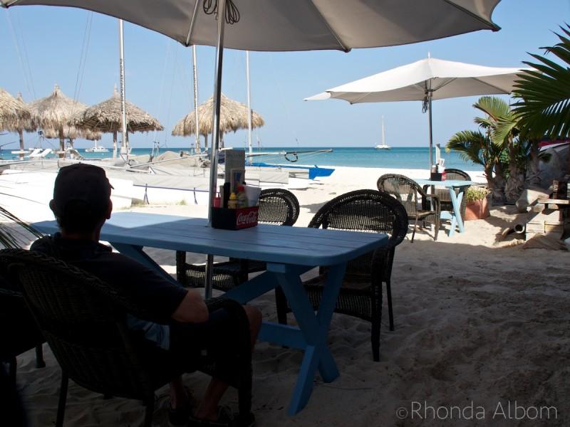 Enjoying a coffee at the beach on the Caribbean Island of Aruba.