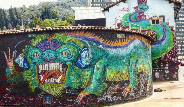 Bogota has some of the world's most striking street art; this is a city where graffiti is not illegal and artists compete with each other to fill every available space with weird and wonderful designs, here is one of my favourites… Photo contributed by: Will Hatton, authors of The Broke Backpacker. See more at: Backpacking in Colombia.