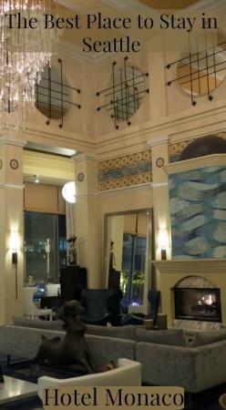 Stunning lobby of Hotel Monaco in Seattle