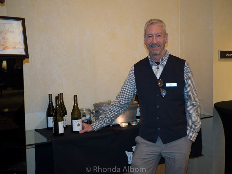 Award winning Dan Salvatora serving wine at the Hotel