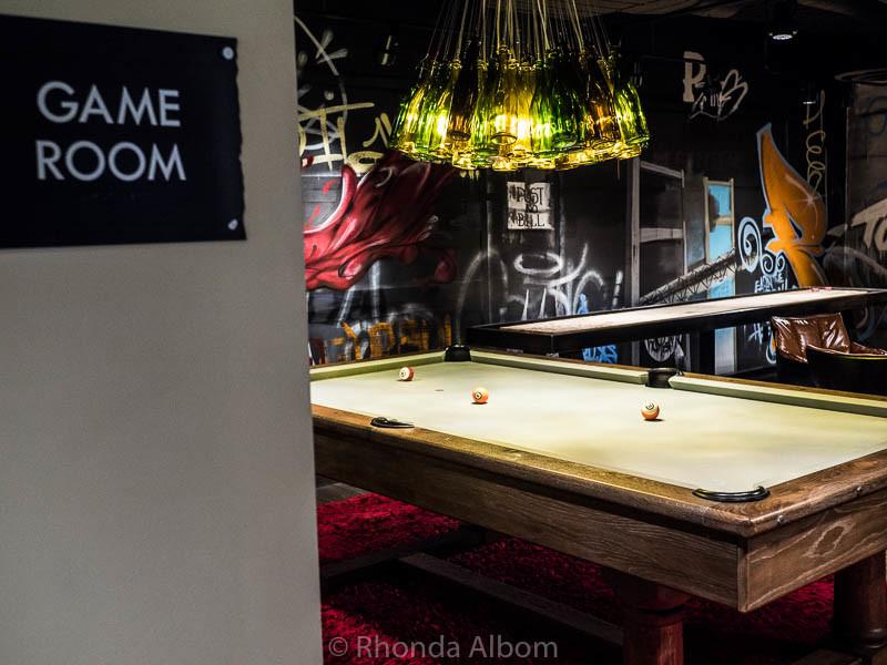 Hotel Vintage's adult game room in Portland Oregon