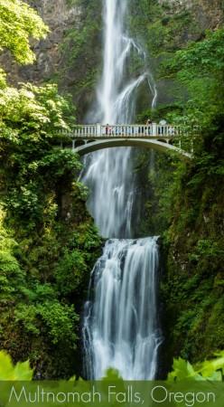Multnomah Falls and Benson Footbridge in Oregon