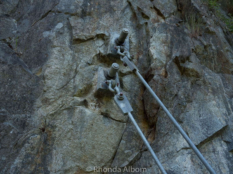 Bolts holding the Cliff Walk at Capilano Suspension Bridge Park in Vancouver Canada