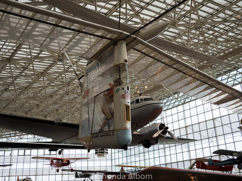 The human powered Gossamer Albatross II at the Museum of Flight in Seattle Washington