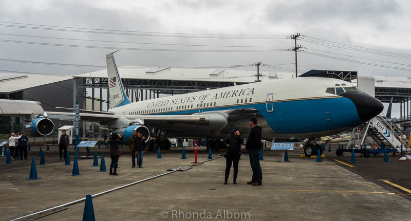 "The first Airforce One sits in the Airpark and is open for inspection. Entering from the rear, we walked first through the press quarters, then through the ""flying oval office."" The plane is a modified Boeing 707 used during the Eisenhower, Kennedy, and Johnson administrations."