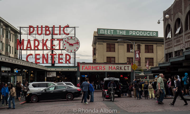 Pike Place Market sign in Seattle Washington is at the entrance of the longest continuously running farmers market in the United States