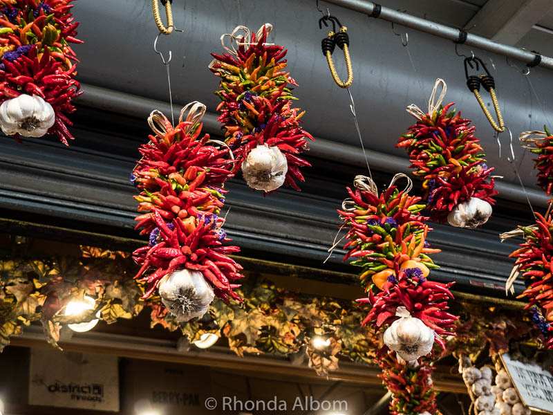 Chili pepper and garlic ristras at Pike Place Market in Seattle