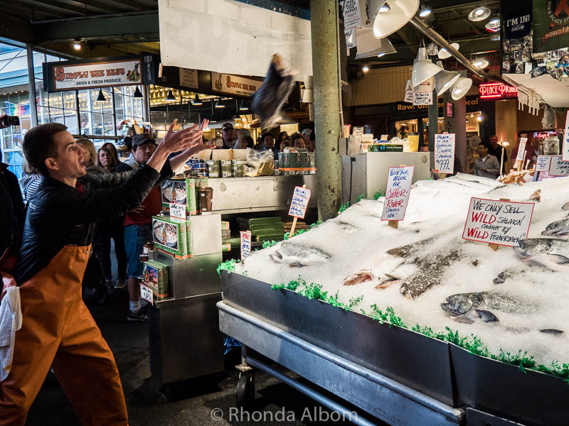 Throwing fish at the Pike Place Fish Market in Seattle Washington