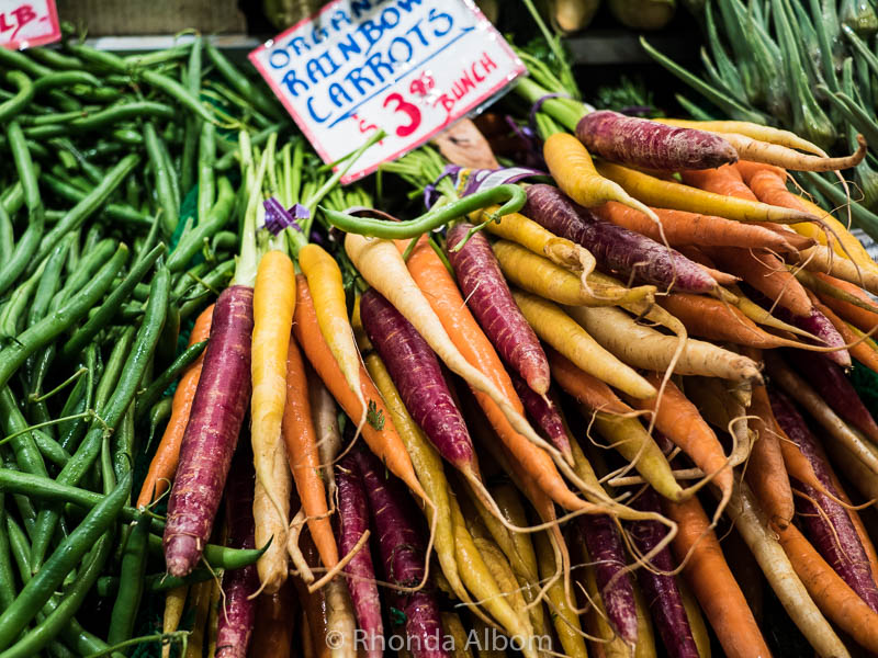 Colorful Carrots at Pike Place Market in Seattle