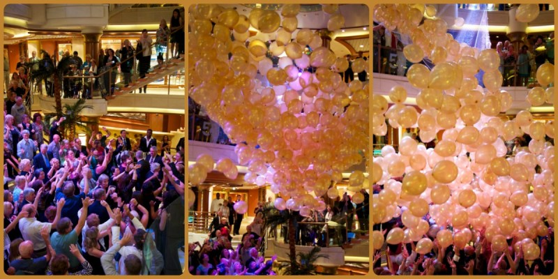 At the champaigne party at the end of each sailing, they drop about 500 balloons. It's a Princess Cruise tradition.