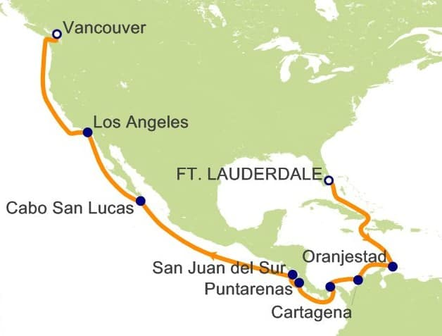 Our 18-night Princess Cruise itinerary through the Panama Canal onboard the Island Princess.