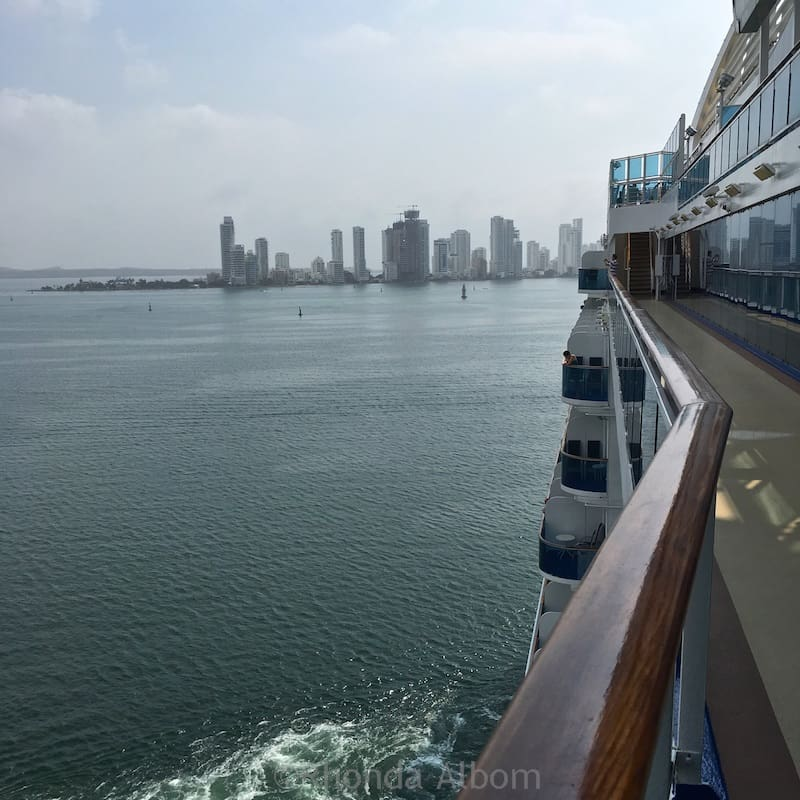 An exterior walkway and great place for a view as we approach land on our Princess Cruise