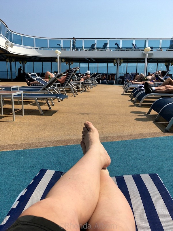Relaxing out the outdoor pool on the Island Princess