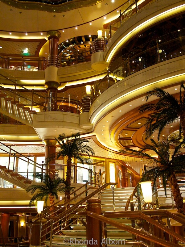 The beautiful atriums on ships are a great place to find some of the cruise secrets