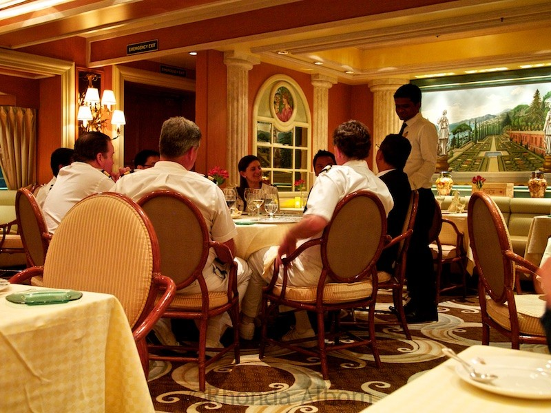 Enjoying dinner at one of the specialty restaurants, we noticed the nearby table of officers. Our meal was the best we had on the ship, and the ambiance was special too. I know see the value in booking at least one meal in a specialty restaurant. It really is worth the additional cover charge.