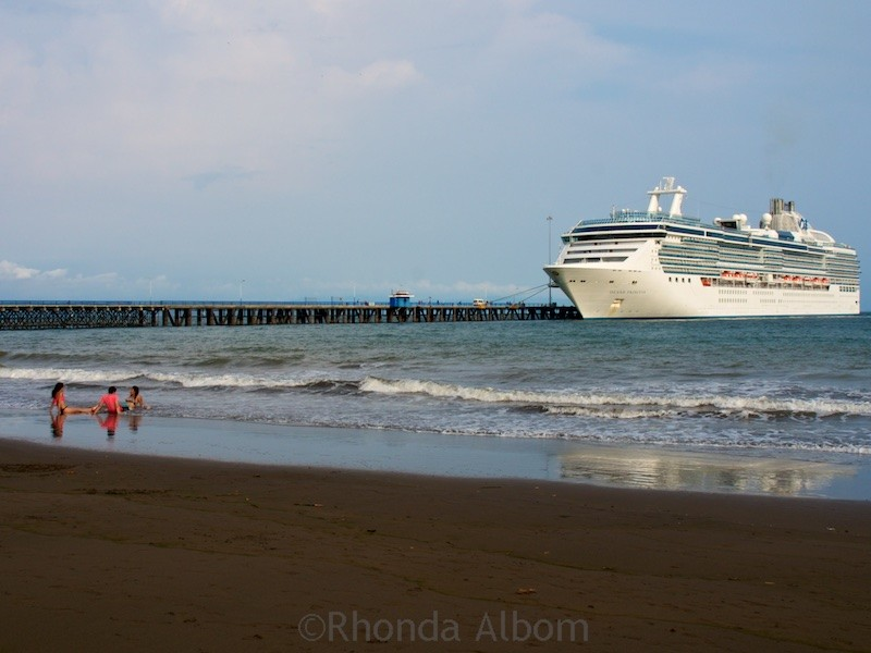The Island Princess cruise ship docked at the port of Puntarenas in Costa Rica