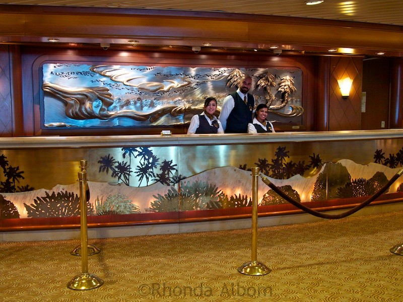 The reception desk on the Island Princess