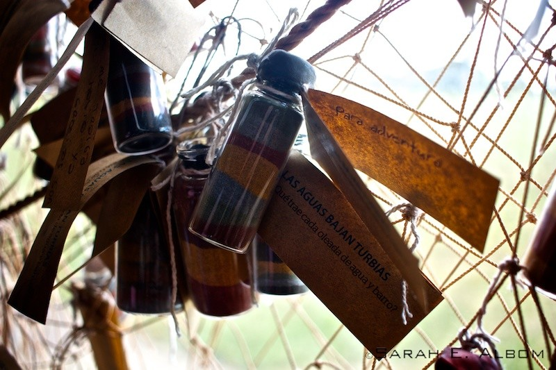 Hanging bottles of sand, La Redonda, Santa Fe, Argentina. Photo copyright ©Sarah Albom 2016